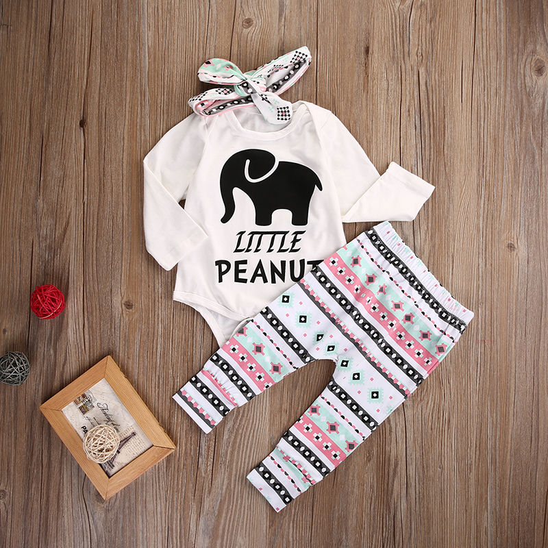 Newborn Infant Baby Boy Girl Clothes Set Elephant Romper Tops Legging Pant Headband Outfit Set Clothing