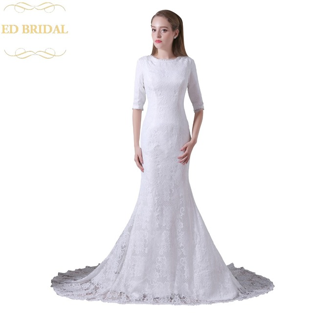 Three Quarter Sleeves Lace Mermaid Wedding Dress Pleated Bridal Gown With Oned Back Robe De Marieeus 164 00
