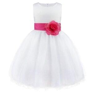 Image 5 - Tiaobug真新しい9色膝丈フォーマルフラワーガールドレスウェディング王女女の子ページェント初聖体ドレス2 14y