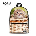 FORUDESIGNS Cute Teenager Girls School Bags 3D Animal Cat Printing Kids Schoolbag Casual Primary Children Canvas Bookbags