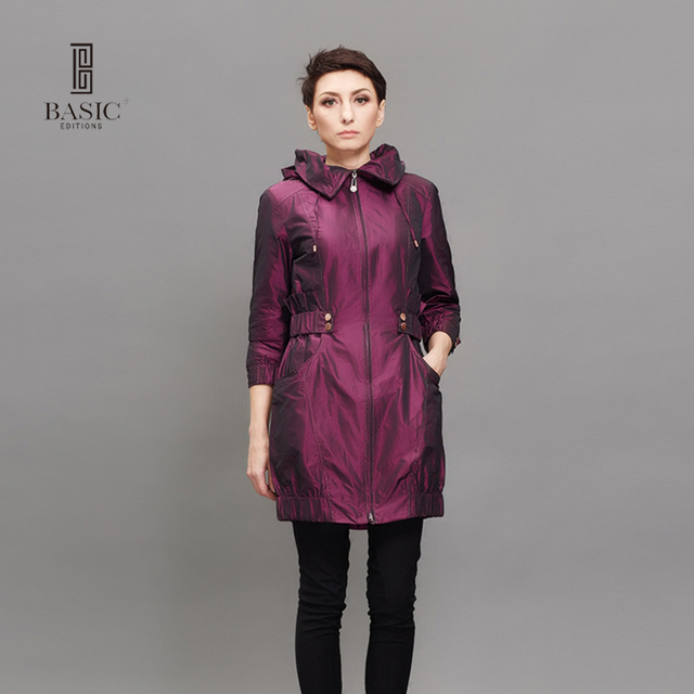 BASIC 2016 New Fashion Spring Autumn Women Trench Coat Long Outwear Blue Purple Zipper Slim Trench Coat  F0992
