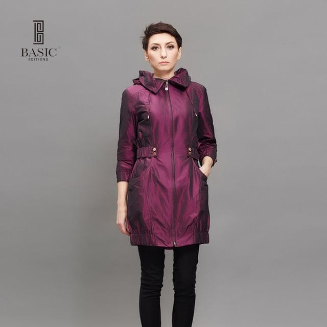 Basic Editions Новая мода Демисезонный Для женщин Тренч Длинная Верхняя одежда синий фиолетовый молнии Тонкий Тренч f0992