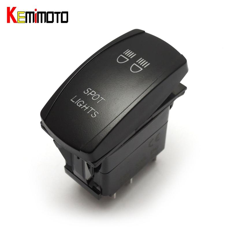 KEMiMOTO For Polaris Ranger RZR XP 1000 UTV ATV Blue Backlit Rocker Switch Spot LED Light for Arctic Cat Wildcat 4 1000 15