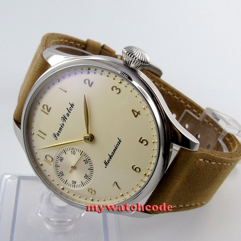 цена 44mm parnis light yellow dial big 6497 movement hand winding mens watch396 онлайн в 2017 году