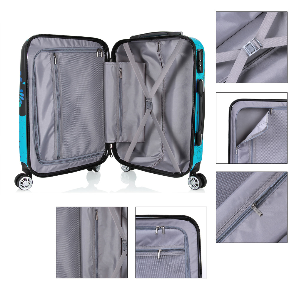 28 inch Unisex Trolley Luggage 4 Wheel Spinner Carry On Luggage Suitcase Butterfly PC Travel Trolley-in Rolling Luggage from Luggage & Bags    3