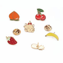 1 PC Kartun Enamel Lencana Kucing Buah Kerah Dekorasi Nanas Peach Pisang Strawberry Cherry Tombol Bros Kerah Gaun Deco(China)