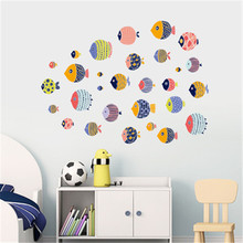 Cartoon Seabed Fish Wall Sticker For Kids Rooms Home Decor Nursery Children Baby Room Shower Bathroom Vinyl Wall Decals Muraux