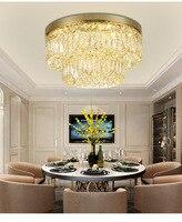 Circulaire Crystal Plafondlamp Voor Woonkamer Thuis Dineren Licht Lamp Hotel Creatieve Retro Ijzer Lamp E14 LED lamp-in Kroonluchters van Licht & verlichting op