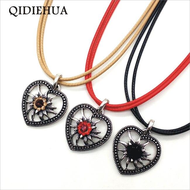 New Antique Silver Love Heart Small Pendant Necklaces Oktoberfest