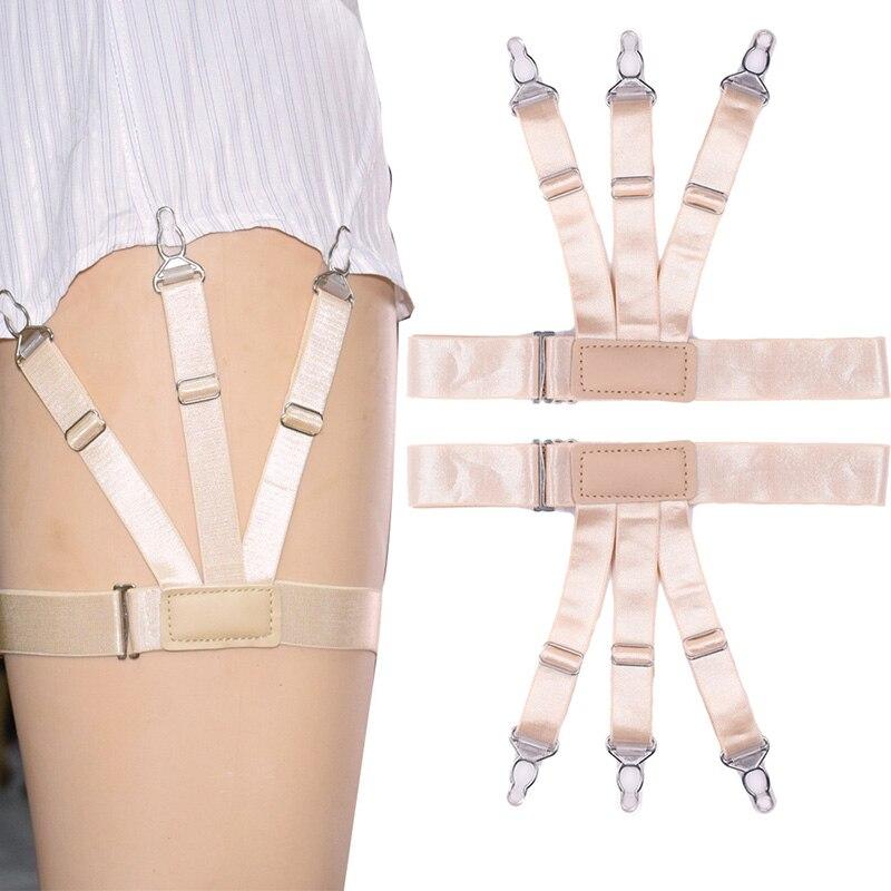 Hot 2Pcs Men Shirt Stays Garter Belt With Non-slip Locking Clips Suspender Garters Strap MSK66