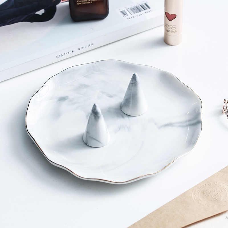 Plato de cerámica de mármol dorado nórdico soporte de anillo bandeja de almacenamiento de joyas soporte de exhibición organizador de maquillaje
