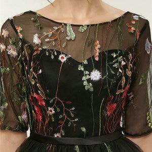 Image 5 - 빠른 배송 저렴한 여성 아이보리 짧은 댄스 파티 드레스 2020 섹시한 블랙 댄스 파티 드레스 특종 얇은 명주 그물 자수 레이스 저녁 파티 가운