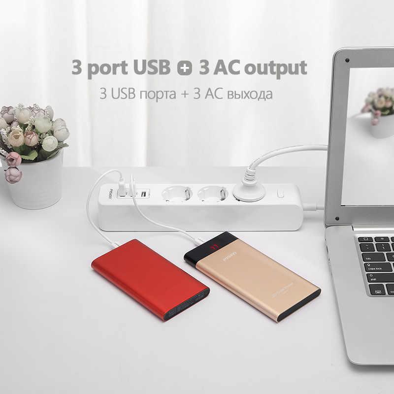 PISEN listwa zasilająca 3 porty USB 3 gniazda AC gniazdo wtykowe gniazdo ścienne USB inteligentne gniazdo przedłużające przycisk zasilania zabezpieczenie przeciwprzepięciowe