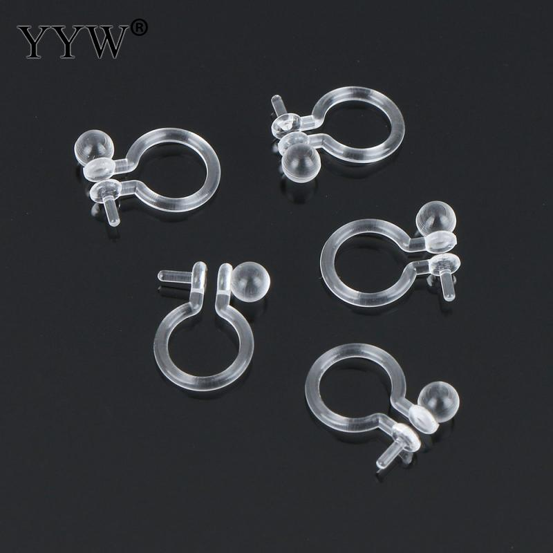 400PCs/Lot Plastic Silicone Earring Clip Component with Loop 8x10.5x3mm DIY Making for Clip Earrings Jewelry Ear Accessories