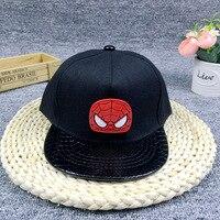 Janvancy Niños béisbol fresco Cartoon Spiderman niños hueso plano SnapBack negro sombreros de algodón para niños niño ajustable