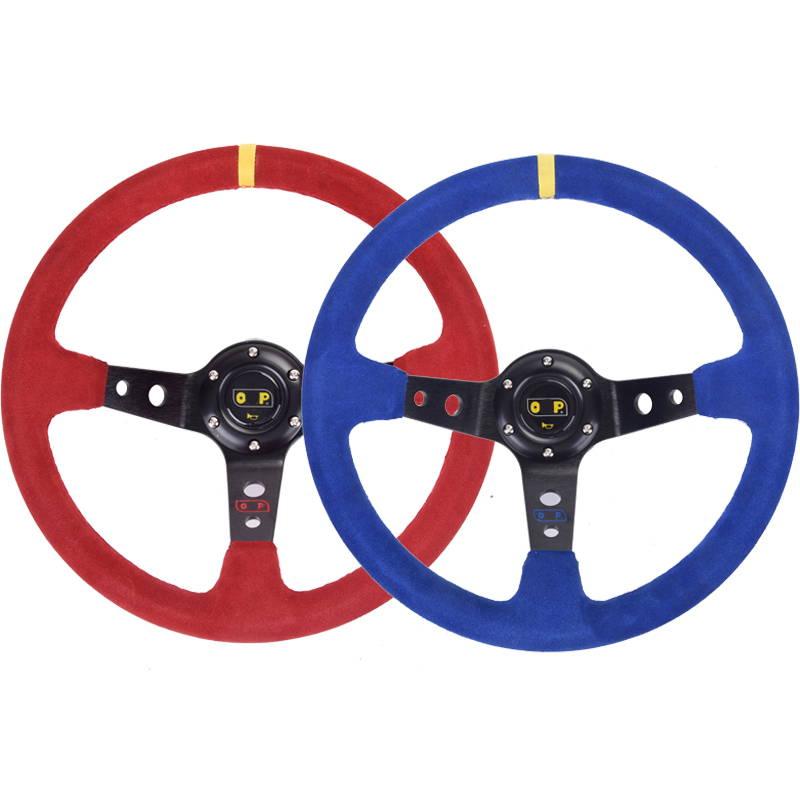 Universal 14inch 350mm Racing Steering Wheel Deep Corn Drifting Suede Leather Sport OMP Steering Wheel with Aluminum Frame