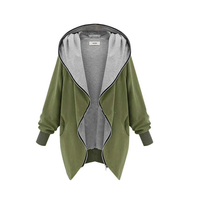 Women Outerwear Coats Europe and America Fashion Casual Hooded Large Size Women Autumn Increase The Fat Sister Was Thin Jackets