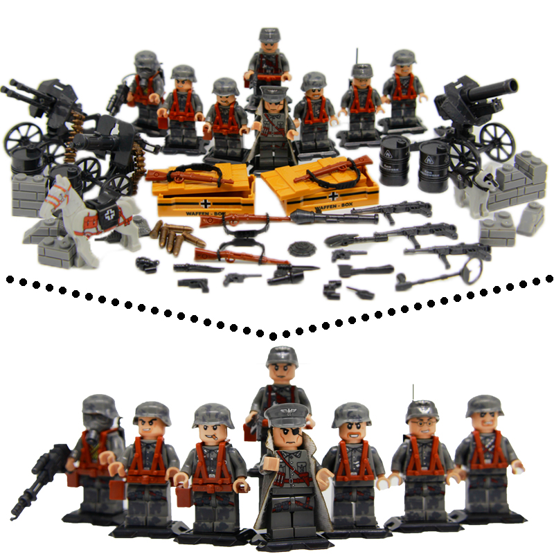 HOT Weltkrieg 2 The German  fighting Cherbourg Military Army Soldiers  weapons building blocks toys Compatible LegoINGlys WW2 pvc building blocks army field combat military escort weapons
