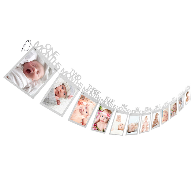 12 Months Photo Frame Banner First Happy Birthday Decorations