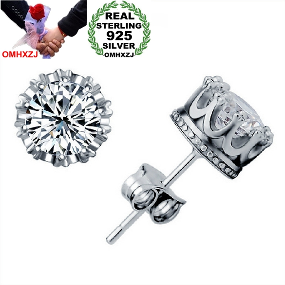 OMHXZJ Wholesale Fashion jewelry Crown natural crystal AAA zircon 925 Sterling Silver Stud Earrings YS29