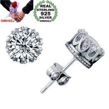 OMHXZJ Wholesale Fashion jewelry Crown natural crystal AAA zircon 925 Sterling Silver Stud Earrings YS29(China)