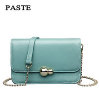 Paste 2017 Women Genuine Leather Chain Bags Cowskin Shoulder Bags Small/Blue/Red/Black/White 6p0206