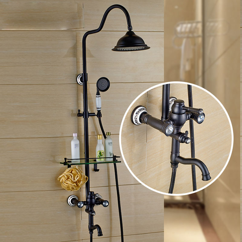 Newly Wall Mount Bath Shower Mixer Set 8Brass Rainfall Shower Faucet Swivel Tub Spout + Handshower Glass Storage Shelf