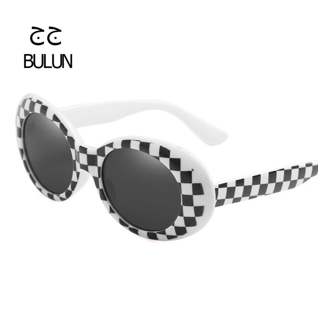 8fdc9853d9bdd BULUN Clout Goggle Kurt Cobain Glasses Oval Sunglasses Female Male Sun Glasses  Black White Eyewear 2018