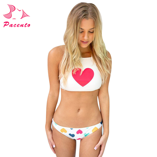 Top Bathing Bikinis Swimwear Sexy White Crop New Suit Us20 092017 Swiming In Bikini Beach Heart Women Suits Print Brazilian Female Hot Red Bottom SLpqzMGUV