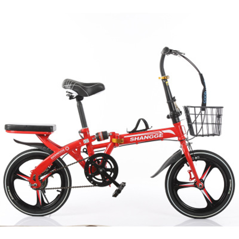 Folding Bicycle 16-Inch Three-Knife Single-Speed Disc Brake Men And Women Ultra-Light Student Portable Bicycle