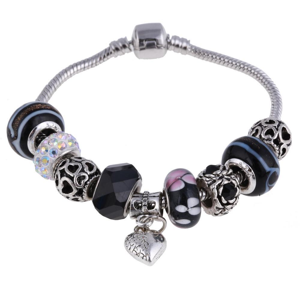 Pink Crystal Charm Silver Bracelets & Bangles for Women  Beads Silver Bracelet Femme Jewelry 21