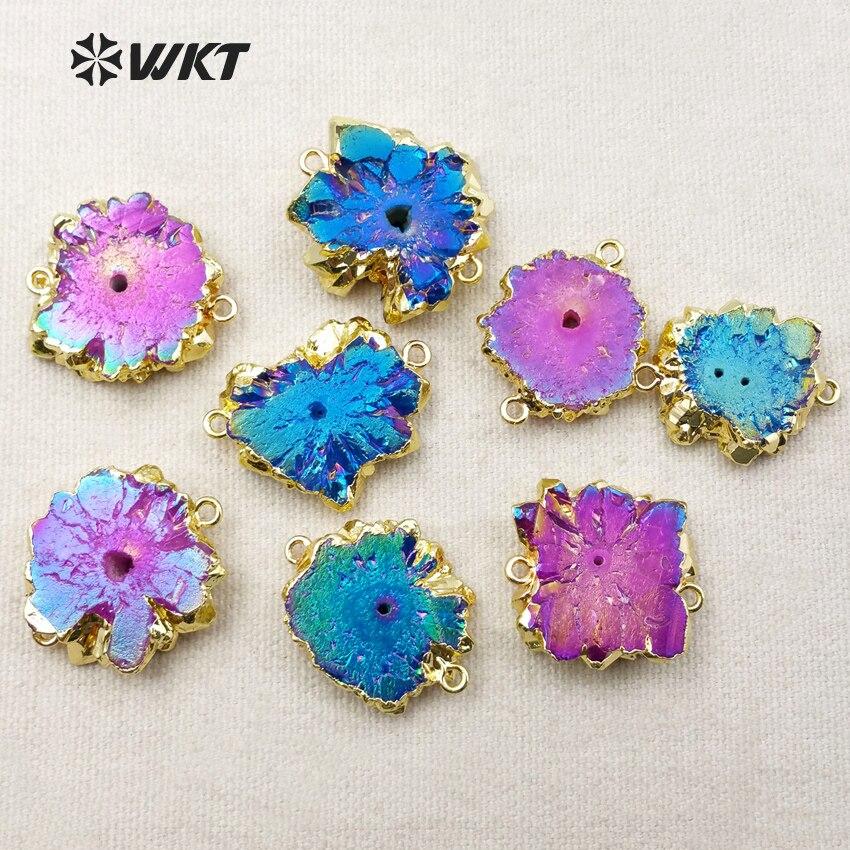 WT C210 Wholesale Natural Stalactite Pendants Connectors Beautiful Blue Aura Quartz Pendant With Gold Color On