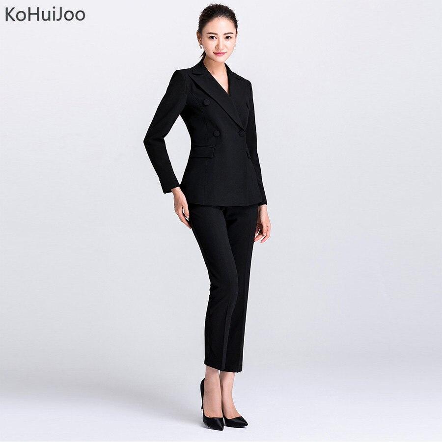 KoHuiJoo סתיו אופנה גבוהה נשים חליפה מעילים + מכנסיים חליפות עסקי שתי חתיכה משרד גבירותיי עבודת ללבוש סטים בתוספת גודל