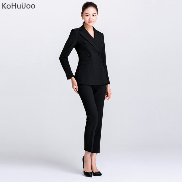 ae89b7787c3 KoHuiJoo Autumn Women s Pants Suit High Fashion Two Piece Business Suits  Jackets +Pants Office Ladies Work wear sets Plus Size