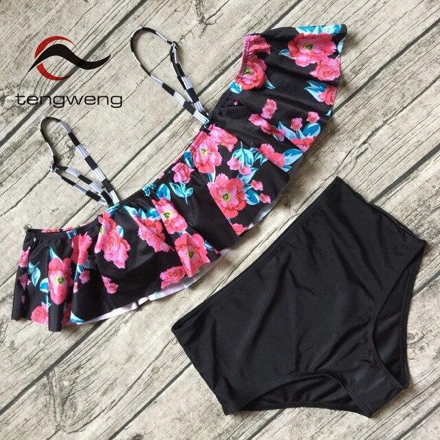 5344295b134 Tengweng 2018 Floral print women swimwear High waist bandeau bikini plus  size two piece swimsuit brazilian