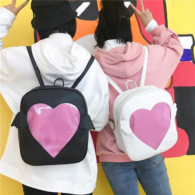 placeholder MSMO  Ita-bag  Glitter Clear Flap Wing Backpack Japan Harajuku  Girls Kawaii Bling c8be10f89b58