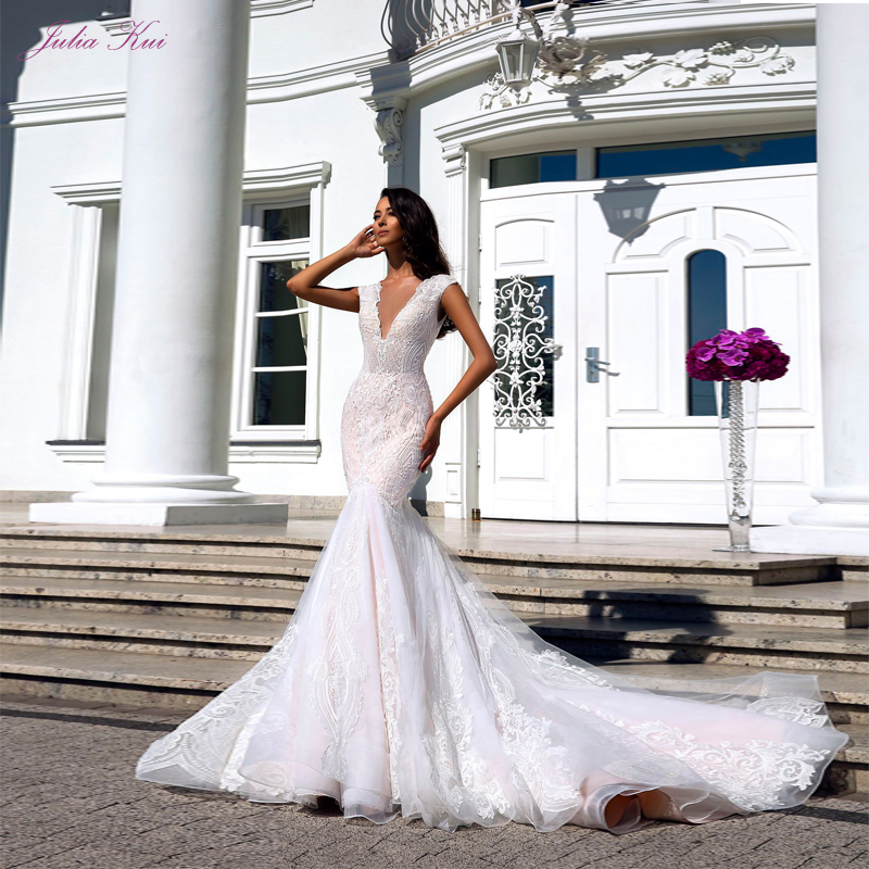 Julia Kui Sexy Deep V Neckling Grid Yarn Fabrics Design Mermaid Wedding Dresses Cap Sleeves Vestido