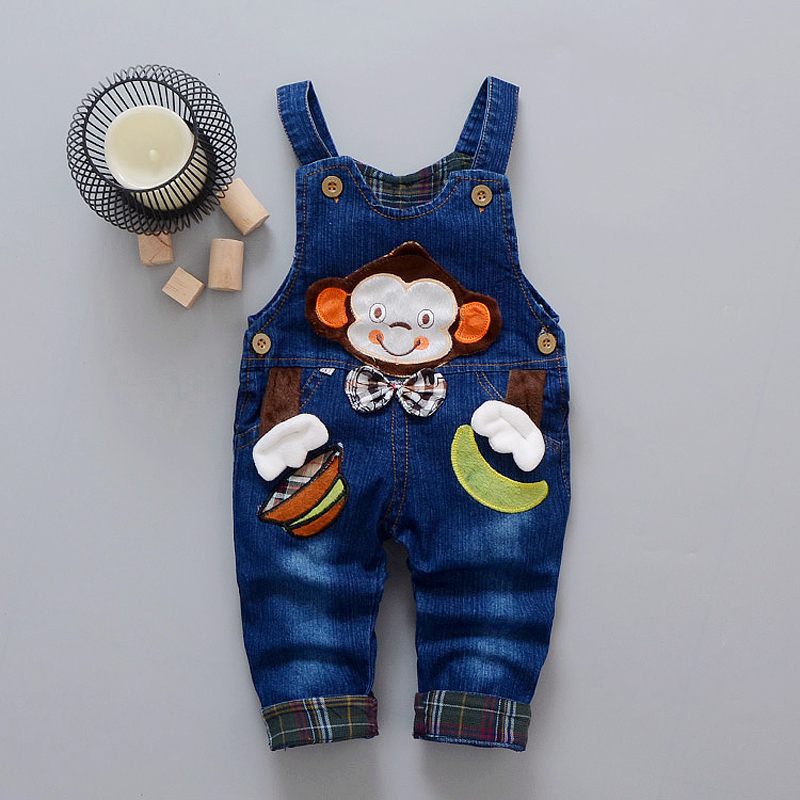 DIIMUU Children Clothing Boys Girls Denim Overalls 1pc Spring Autumn Fashion Toddler Baby Clothes Cartoons Jeans Suspender Pants