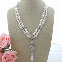 N092508 21'' 22 2 Strands White Pearl Necklace White Keshi Pearl CZ Pendant