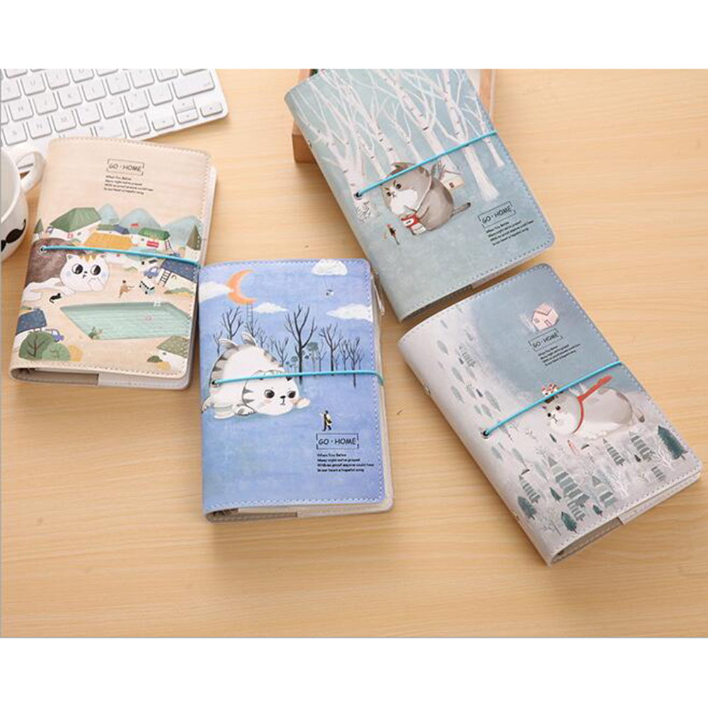 Creative Cute Cat Spiral Notebook Office School Stationery Student DIY Hand-account Supply Planner Organizer Lovely Diary 1pc creative cute cartoon animal planner notebook diary book wooden school supplies student gift