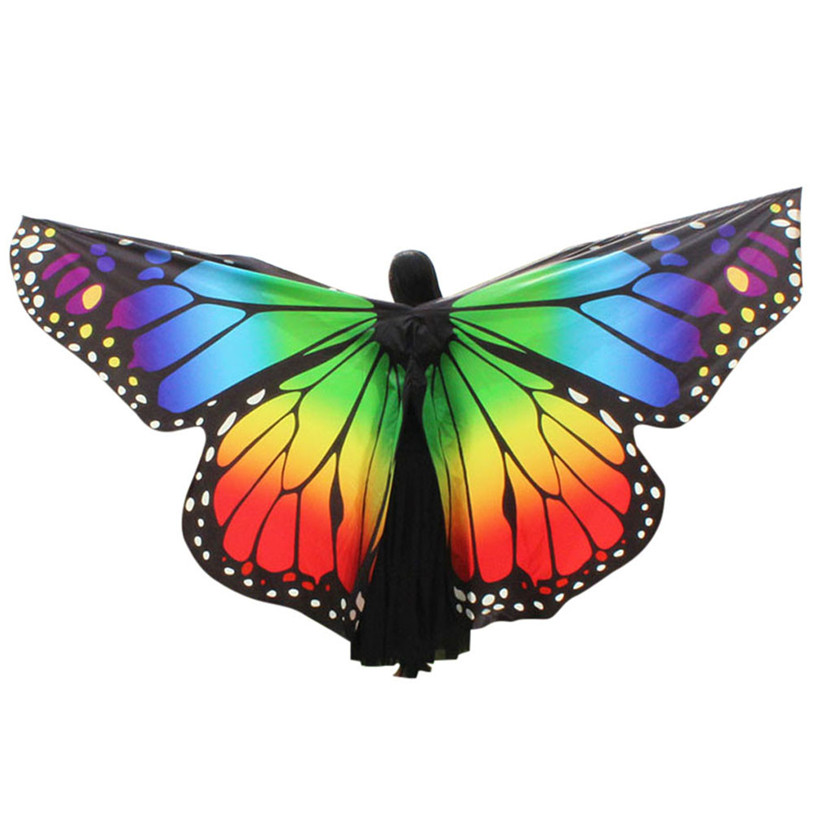 360 Degree Rotating Butterfly Shawl Decorated Women Butterfly Print Chiffon Belly Dance Butterfly Wings 9 Style Without Sticks