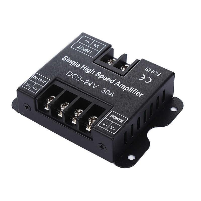 HKZZI DC5V 12V 24V 30A Single Color LED Amplifier Data Signal Repeater Dimmer Power Amplifier Metal Shell for LED Strip light