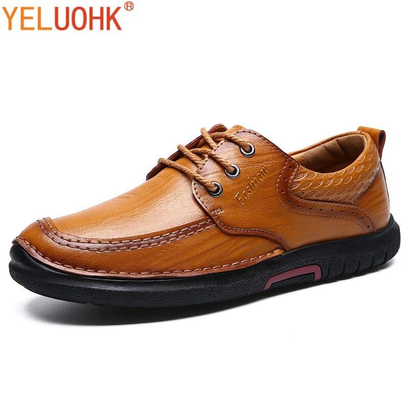 Sapatos Casuais De Alta Dark Brown Rendas Marrom Até Dos Inverno Couro Homens Brown light Qualidade Outono qqrHw0Ax