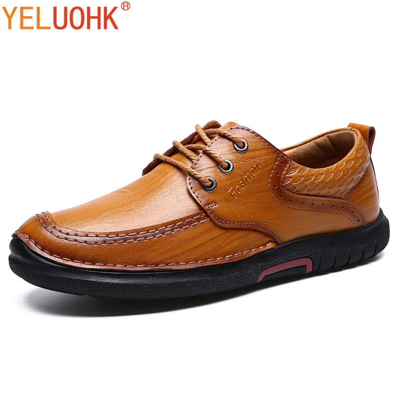 Winter Shoes Men Lace Up Autumn Men Shoes Casual High Quality Men Leather Shoes Brown winter men