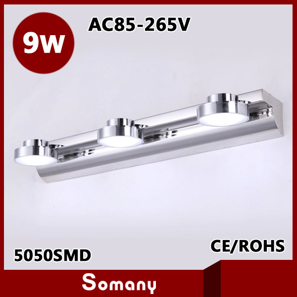 ФОТО Hot 9W Mirror Light CE&ROHS AC85 265V Cool White Stainless steel + Acrylic Lampshade 3 Heads Led Wall Lamp Indoor