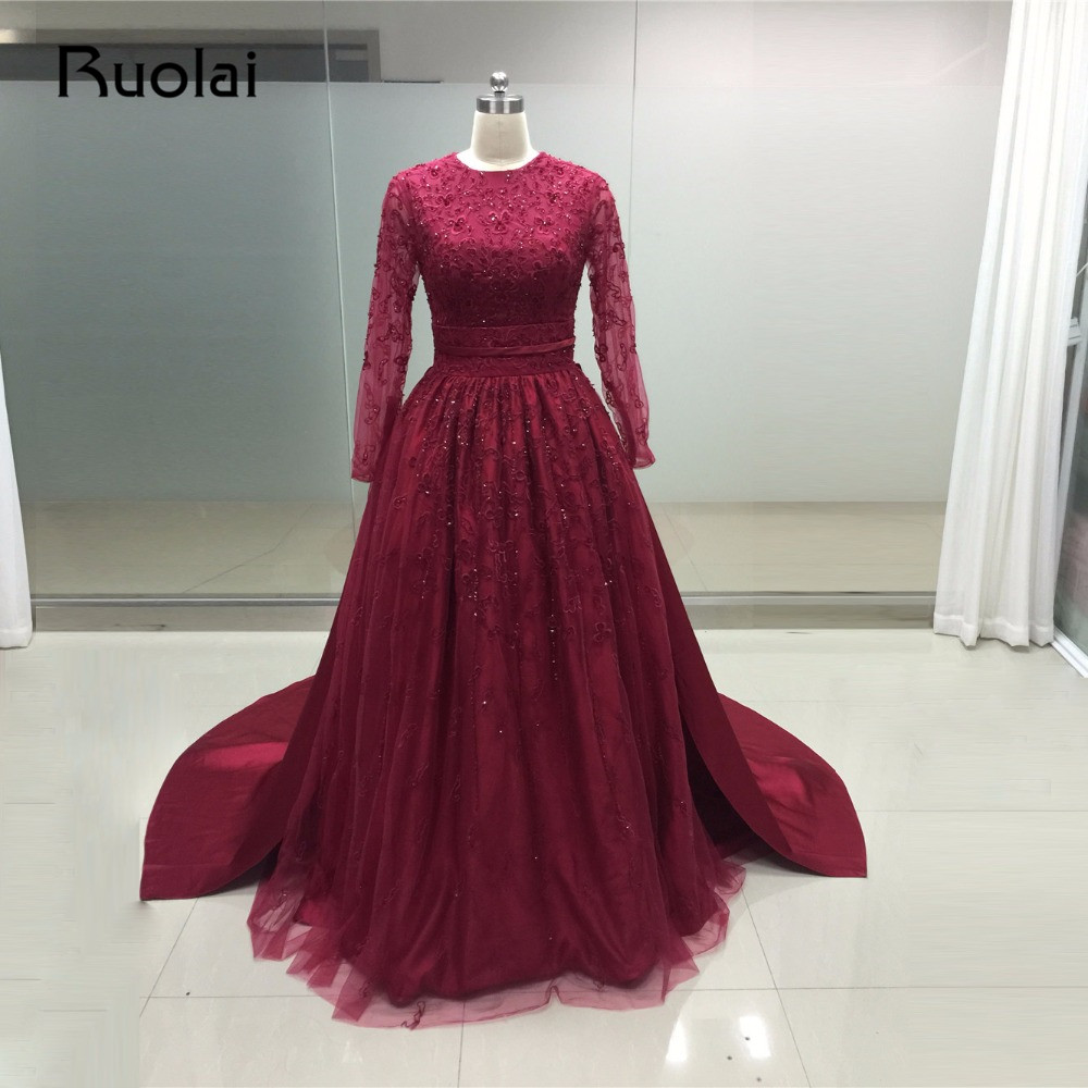 Real Photo Burgundy Prom Dresses Plus Size Evening Dresses Long Sleeves A Line Applque with Crystal Beading Robe de Soiree PD23