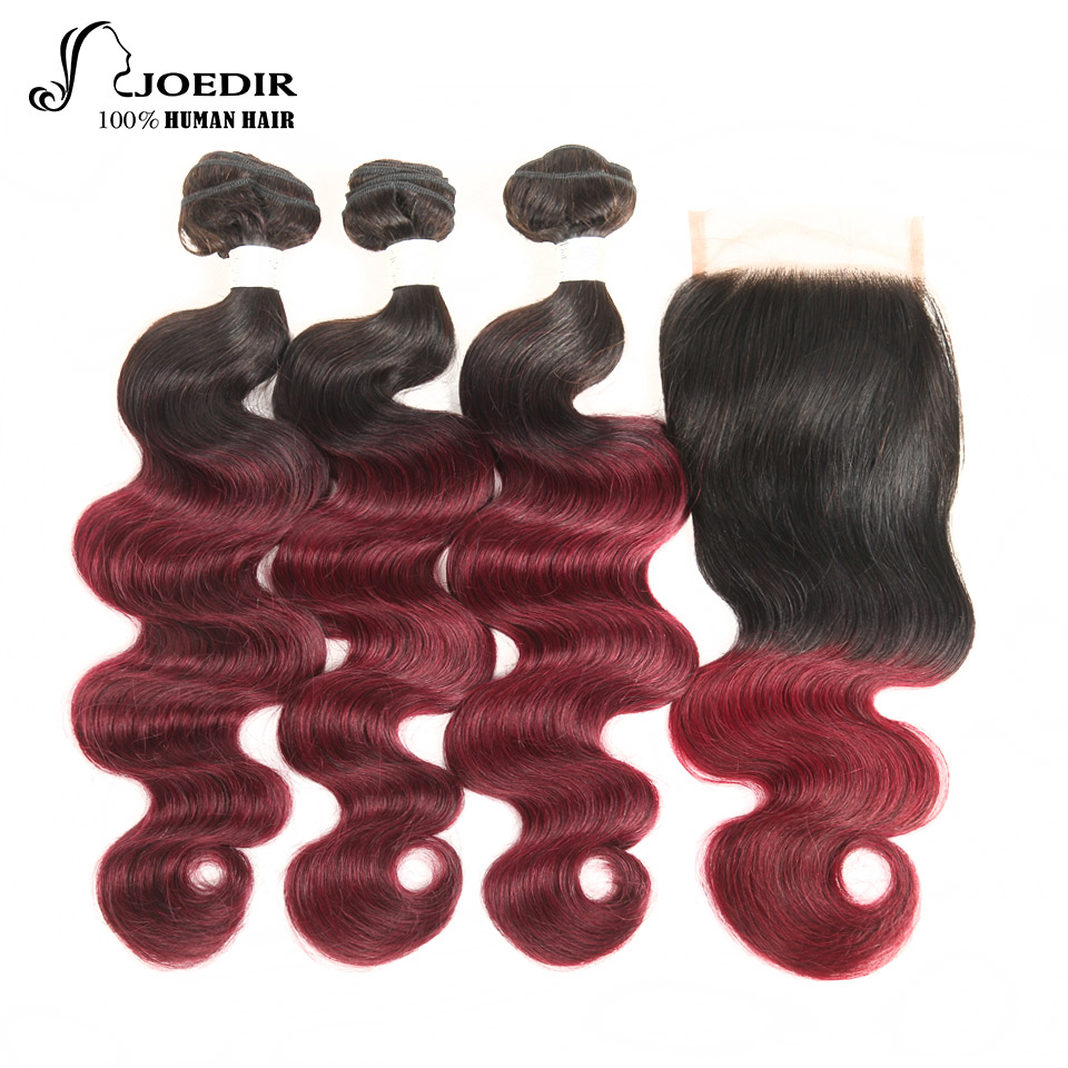 Joedir Brazilian Body Wave Human Hair 3 Bundles With Closure Ombre Remy Hair Weave T1B/99J Free Part Lace Closure Free Ship