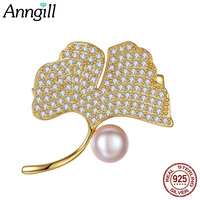 Genuine 925 Sterling Silver Gold Color Leaf Brooches Pins Natural Pearl Brooch Women Wedding Accessories Personalized Jewelry