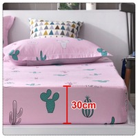 150x200cm/180x200cm Hot Sale 3 in 1 Sheet Mattress Cover Printing Bedding Linens Bed Sheets With Elastic Band Protector#287711