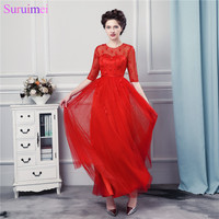 Red Prom Dresses Half Sleeves Long Floor Length Tulle Flowers Back See Through Prom Gown Buttons Free Shipping